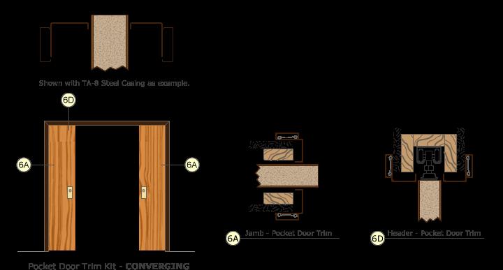 Timely Door Frames Pocket Door Trim Kit Converging Doors Drawing